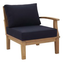 Marina Outdoor Patio Teak Right-Facing Sofa in Natual Navy