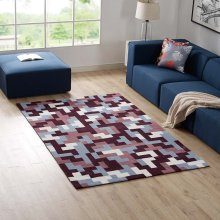 Andela Interlocking Block Mosaic 5x8 Area Rug in Multicolored Red and Light Blue