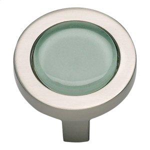 Spa Green Round Knob 1 1/4 Inch - Brushed Nickel Product Image