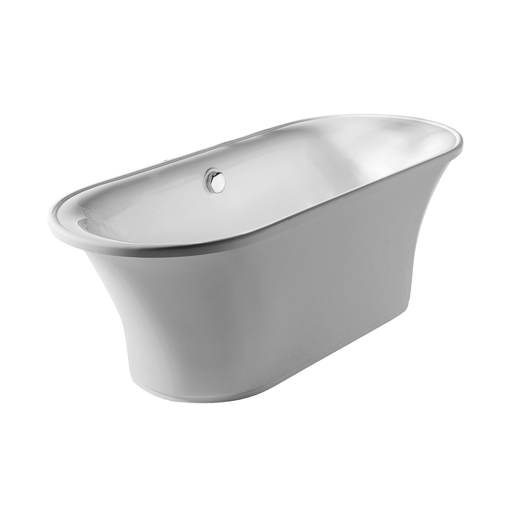Bathhaus oval double-ended freestanding bathtub made of Lucite ® acrylic with a chrome mechanical pop-up waste and chrome center drain with internal overflow.