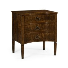 Inward Bow Front Light Brown Mahogany Bedside Chest