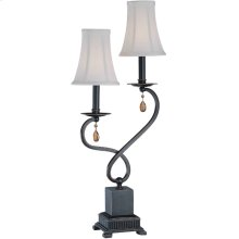 2 Lites Table Lamp - Dark Brz/off-white Shade, E12 B 60wx2