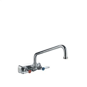 Heavy-duty wall mount utility faucet with extended swivel spout and lever handles. Product Image