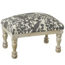 Grey Floral Bird Block Print Stool (Each One Will Vary)