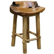 Basin Counter Stool  18in X 29in X 16in  Rustic Solid Natural Wood Raw Edge Stool with Clear Lacqu