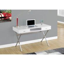 "COMPUTER DESK - 48""L / GLOSSY WHITE / CHROME METAL"