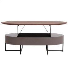 Hansel KD Lift-Top Oval Coffee Table w/ Storage, Walnut/Gray