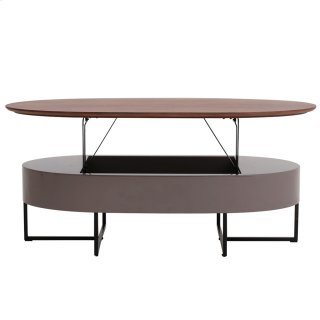 Hansel KD Lift-Top Oval Coffee Table w/ Storage, Walnut/Gray