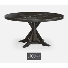 "60"" Dark Ale Round Dining Table with Inbuilt Lazy Susan"