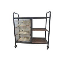 Dining Cart Wood Top W/3 Wire Baskets-black Metal Frame