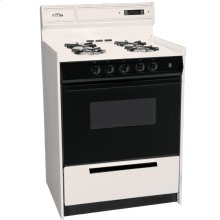 """Deluxe Bisque Gas Range In Slim 24"""" Width With Electronic Ignition, Digital Clock/timer, Black See-through Glass Oven Door and Light; Replaces Stm6307dk"""