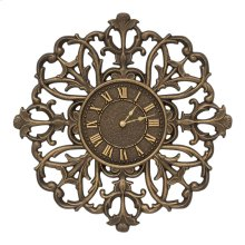 "Filigree Silhouette 21"" Indoor Outdoor Wall Clock - Aged Bronze"