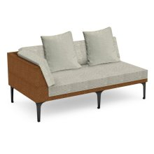 "67"" Outdoor Tan Rattan 2 Seat L-Shaped Right Sofa Sectional, Upholstered in Standard Outdoor Fabric"