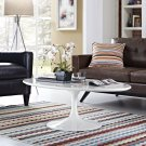 """Lippa 48"""" Oval-Shaped Wood Top Coffee Table in White Product Image"""