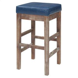 Valencia Bonded Leather Counter Stool Drift Wood Legs, Vintage Blue