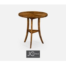 Walnut Country Style Round Lamp Table
