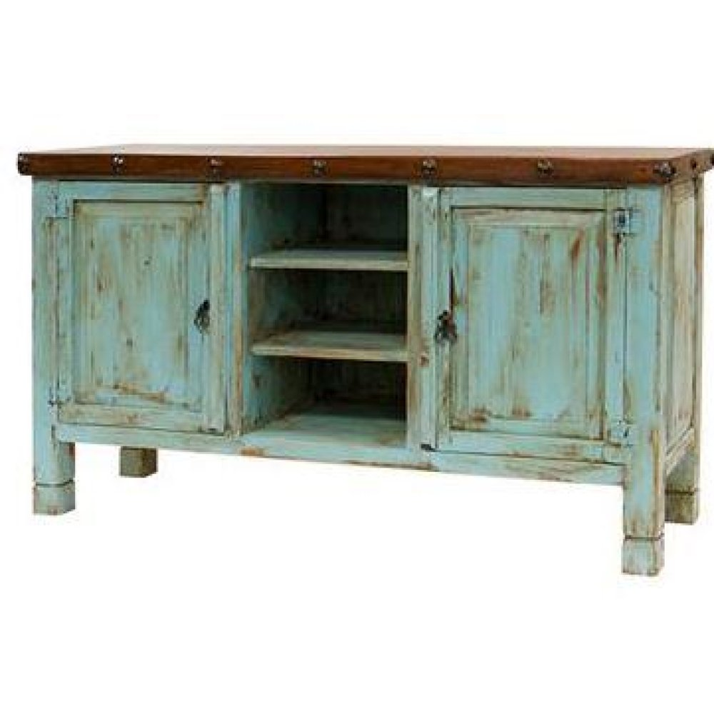 Turquoise/Walnut TV Stand