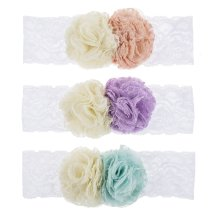 Baby Double Flower Lace Headbands (12 pc. ppk.)