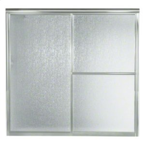 "Deluxe Sliding Bath Door - Height 56-1/4"", Max. Opening 59-3/8"" - Silver with Rain Glass Texture Product Image"