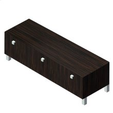 """Free-standing bench with three drawers, polished chrome pulls and polished stainless steel legs included, 47 3/8""""W, 13 3/8""""D, 12 1/2""""H"""
