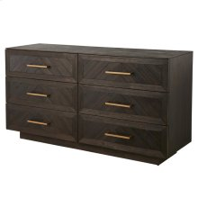 Wellington Herringbone Dresser 6 Drawers, Thames Dark Brown