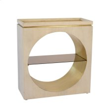 "Wooden 32"" Console W/ Glass Shelf, Gold / White Wash"