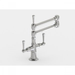 "Brushed Stainless - Deck Mount 17 3/4"" Articulated Dual Swivel Spout with Metal Lever Product Image"