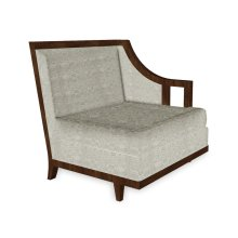 """29"""" Walnut & Tan Rattan Left One-Seat Sofa Sectional, Upholstered in Standard Outdoor Fabric"""