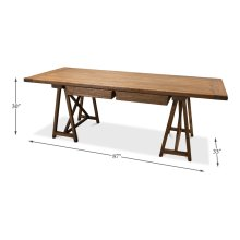 Sawhorse Desk, Natural Polished Old Pine