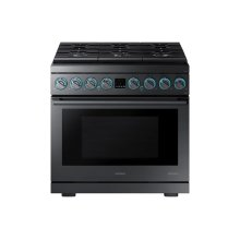 "6.3 cu. ft. 36"" Chef Collection Professional Dual Fuel Range in Black Stainless Steel"