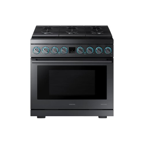"""6.3 cu. ft. 36"""" Chef Collection Professional Dual Fuel Range in Black Stainless Steel"""