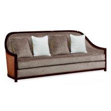 """86"""" Sonokelling & Brown Rattan Sofa, Upholstered in Truffle Velvet"""