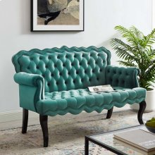 Viola Chesterfield Button Tufted Loveseat Performance Velvet Settee in Teal