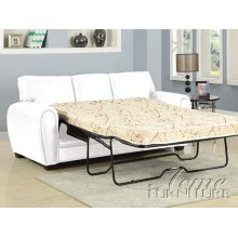 Amber White Bonded Leather Sofa w/Full Sleeper Set