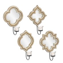 Mirrored Beaded Edge Votive Holder Wall Scounce (4 pc. ppk.)