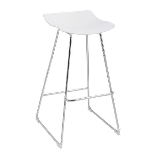 "Emerald Home Neo 30"" Barstool White Seat No Back-chrome Base D2502wht"