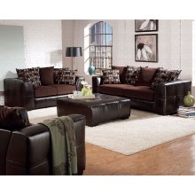 "LOVESEAT/BROWN FINISH 68-1/2""Lx36-1/2""Wx37-1/2"
