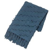Blue Diagonal Fringe Slub Woven Throw