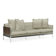 Campaign Style Dark Santos Rosewood Sofa, Upholstered in MAZO