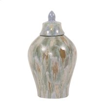 Celadon Dripped Ceramic Urn with Lid, Small