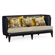 Curved Dark Brown Ash Sofa, Upholstered in MAZO