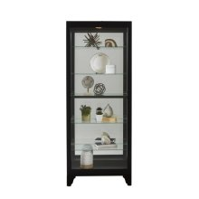 Lighted Gallery Style 5 Shelf Curio Cabinet in Onyx Black