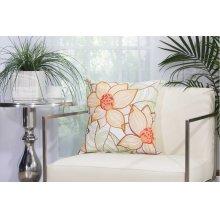 """Outdoor Pillow L3161 White 18"""" X 18"""" Throw Pillow"""