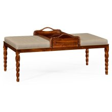 Cocktail Ottoman with Tray Table and Walnut Barleytwist Legs, Upholstered in MAZO
