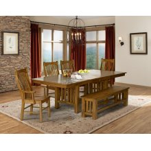 Laurelhurst Rustic Oak Trestle Table, 2 Arm Chairs, and 4 Side Chairs