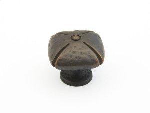 "Siena, Square Knob, 1-1/2"" diameter, Ancient Bronze finish Product Image"