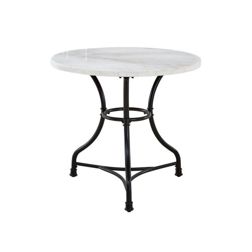 Claire White Marble Top Round Bistro Table 34''x34''x30H''