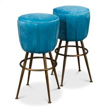 Light Blue Velvet Pouf Barstool