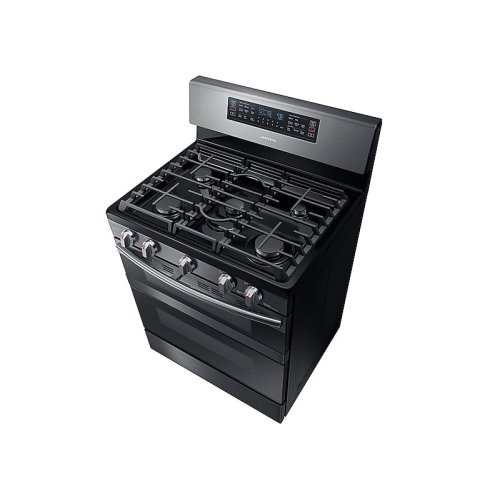 5.8 cu. ft. Freestanding Gas Range with Flex Duo & Dual Door in Black Stainless Steel