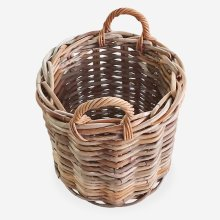 Lindy Large Weave Round Basket - Natural Rattan (20x20x24)